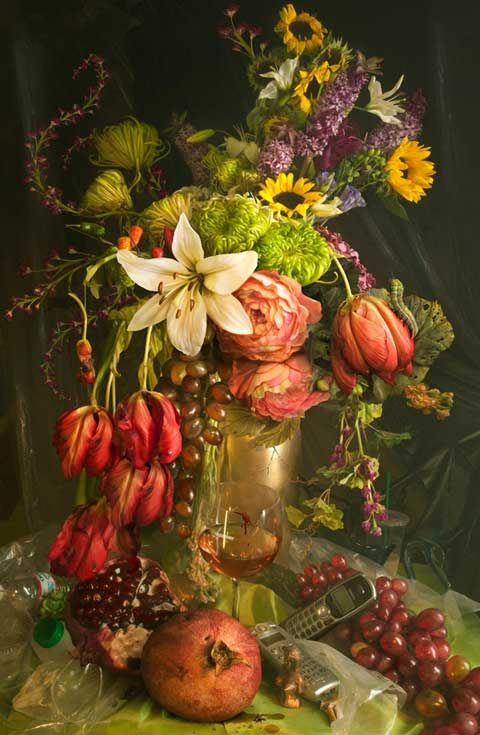 In Earth Laughs In Flowers David LaChapelle appropriates the traditional Baroque still life painting in order to explore contemporary vanity, vice, the transience of earthly possessions and, ultimately, the fragility of humanity.