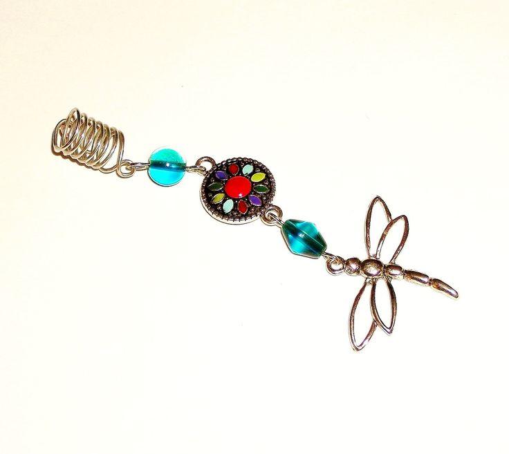 Dreadlock Jewelry - Silver Open-Dragonfly Loc Jewel by TumbleGems on Etsy