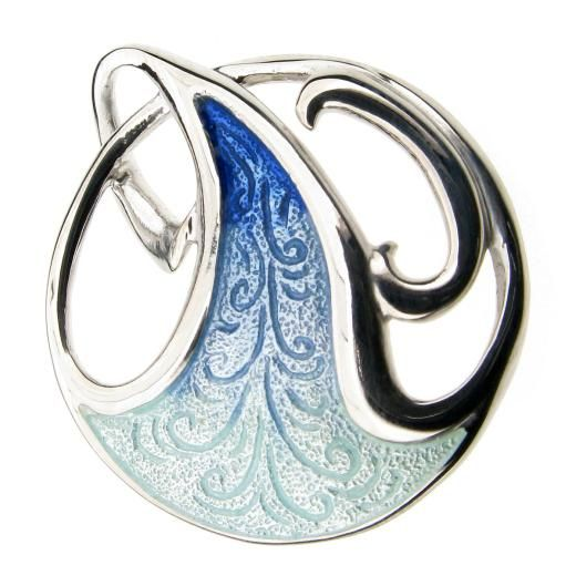 Art nouveau silver enamel brooch - Blue - £57.50 - Brooches - Parriss Jewellers