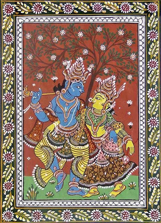 Radha Krishna (Orissa Paata Painting on Canvas - Unframed))