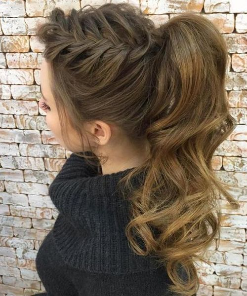 High Pony with One Side Briad Long Hairstyles 2018 for Women