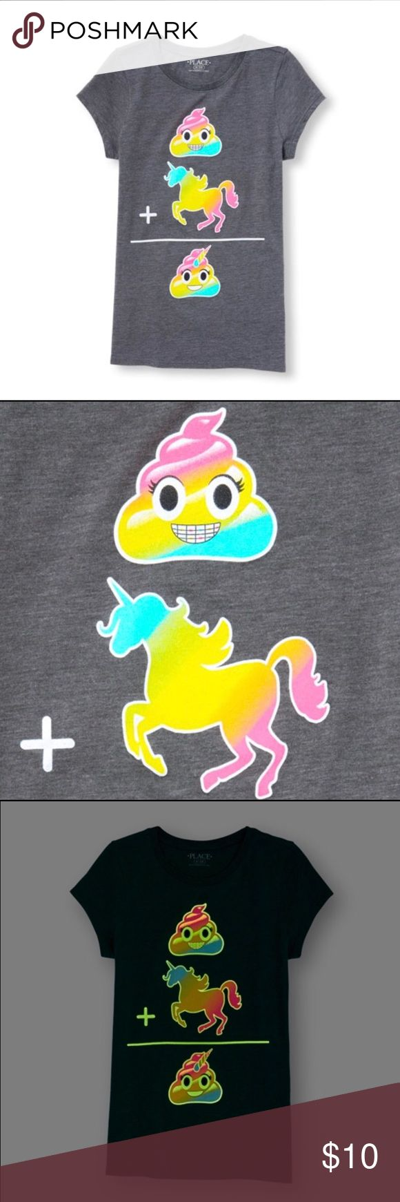 Girl's Cute Emoji Top Selling a NWT Girl's Girl's Cute Emoji Top.  Outside lining of the emojis are glow in the dark!  Made of 50% cotton/50% polyester jersey; side-dyed for a heathered look. Front of top comes decorated with: (Rainbow Swirl Emoji) + (Rainbow Unicorn Emoji) = (Rainbow Unicorn Swirl Emoji) Size Medium (7/8). The Children's Place Shirts & Tops Tees - Short Sleeve