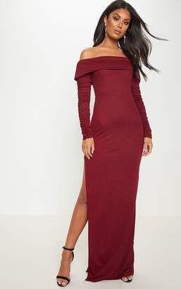 99e97b7c563 PrettyLittleThing Burgundy Bardot Long Sleeve Split Detail Maxi Dress
