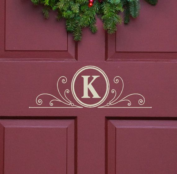 Vinyl Decal Monogram Letter with Scrolls   -  5 X 13  -   Front Door Decor, mailbox Decals and personalized gifts on Etsy, $12.00