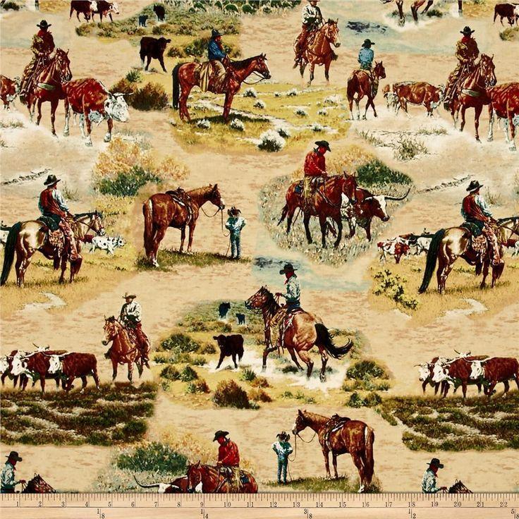 Cattle Drive Quilt Fabric Cowboys Cattle Horses Premium