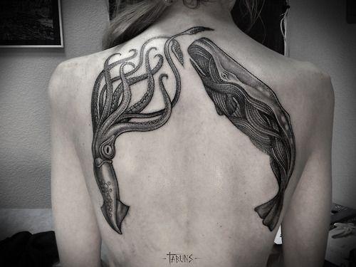 Kraken squid whale tattoo - great ink