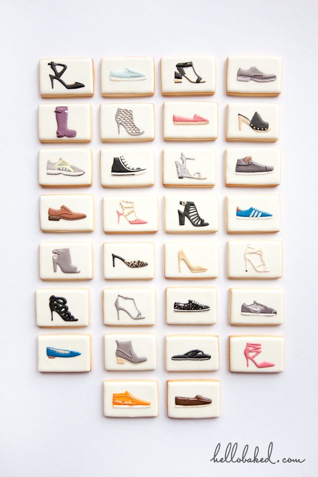 Shoes, lots of shoes!  Sugar cookies decorated with royal icing by hello baked.  Cookie art.