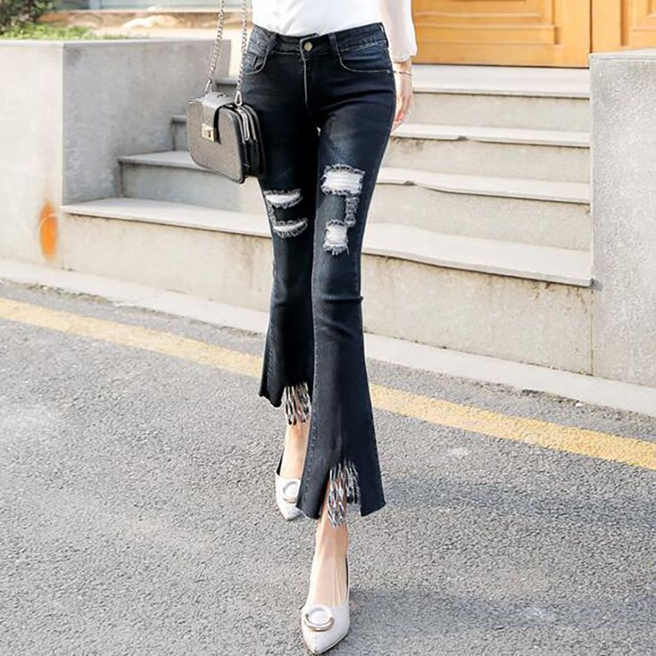 Women Ripped Jeans 2017 Newly Arrival Female Flare Pants Demin Breeches Tight Women Jeans Summer Women's Clothing