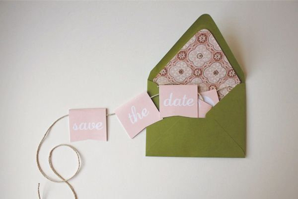 #DIY: mini bunting save the dates (click through for instructions!)