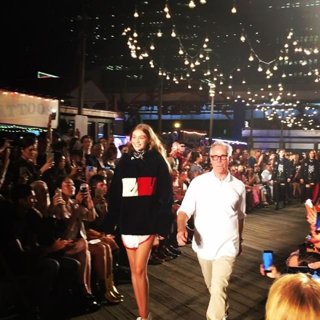 (Video on ig) Designer Tommy Hilfiger and model Gigi Hadid thank the crowd  at