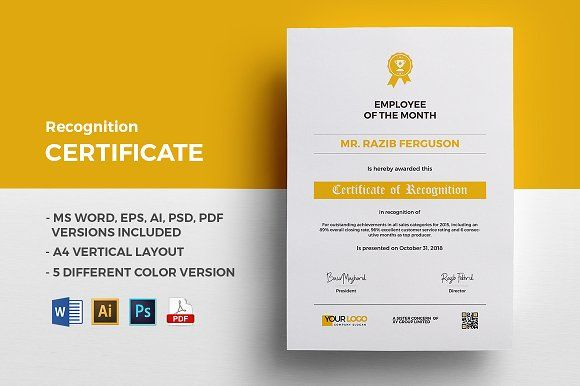 Recognition Certificate by Jilapi on @creativemarket