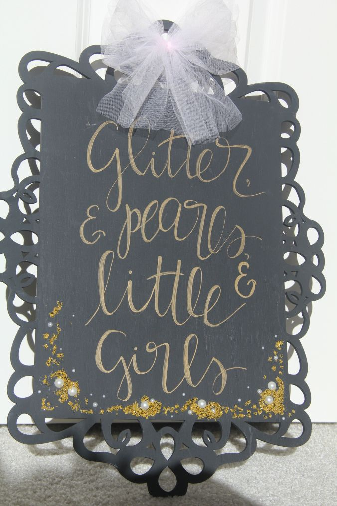 Glitter, pearls, and little girls baby shower Pink and gold baby shower