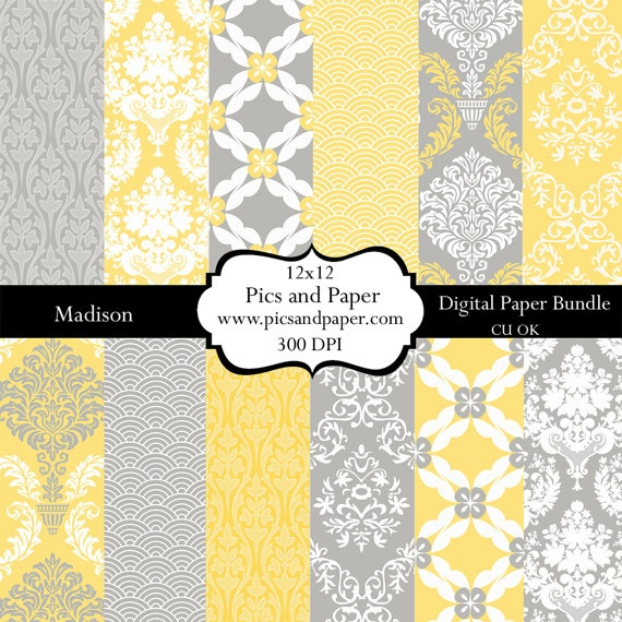 Yellow and Gray Paper: Damasks Madison, Building Ideas, Crafts Ideas, Digital Papers, 12X12 Damasks, Digital Scrapbooking, Scrapbook Paper, Crafts Yellow, Gray Paper
