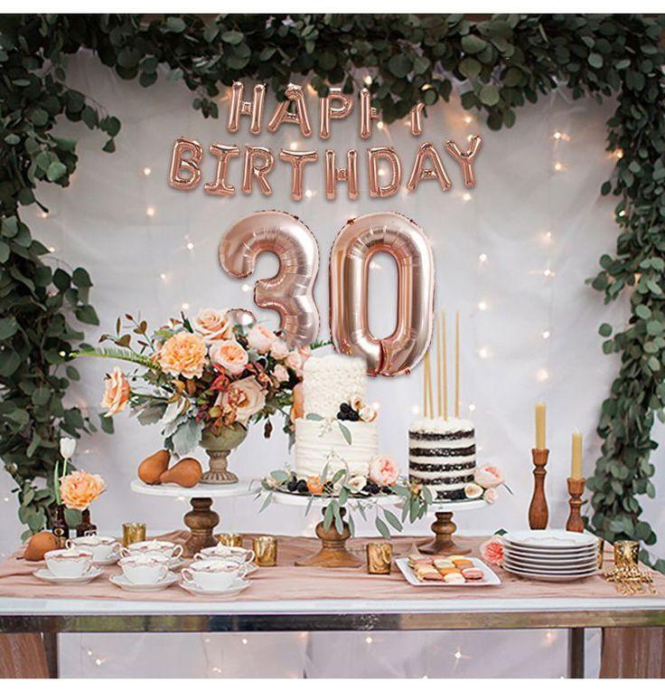 Rose Gold Happy Birthday 30 Gold Birthday Party 30th Birthday