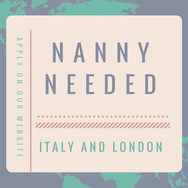 A qualified and energetic #nanny is needed to care for two children of an American #family living between #Italy and #London. Visit our website for more info! #nannylife