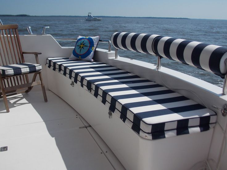 DIY cockpit cushions & rail covers in a truly nautical striped #sunbrella fabric.
