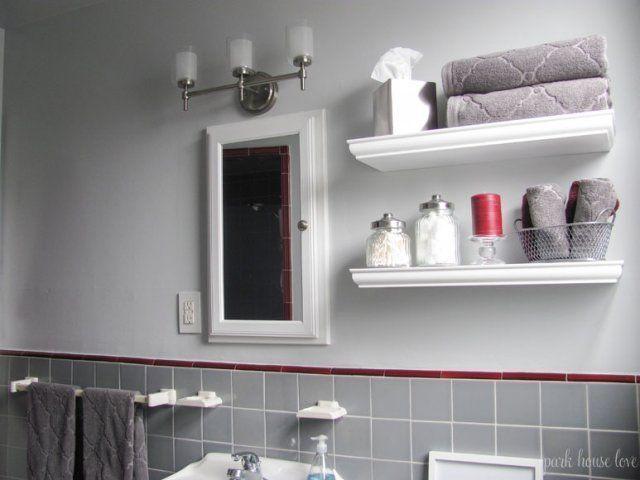 shelves above toilet instead of johnny cabinet.    Bathroom Shelves Decor  #ba   – Bathroom Shelving
