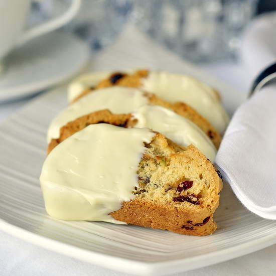 Pistachio Cranberry White Chocolate Biscotti - a wonderful recipe for Christmas entertaining and gift giving.