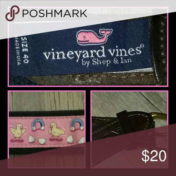 Mens Belt Vineyards Vines Mens Canvas Belt - SIZE 40 - EUC  Navy Blue Canvas/Brown Leather w/Ducks & Horseshoes Vineyard Vines Accessories Belts