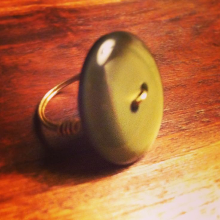 Olive Green Vintage Button Ring