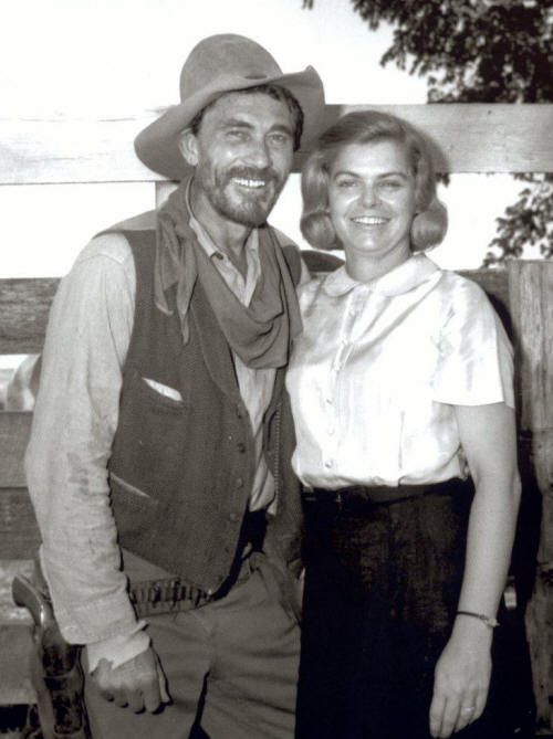 "'FESTUS' TAKES A WIFE - Ken Curtis (who portrays 'Festus' Hagen in the CBS-TV western series, ""Gunsmoke"") poses with real-life wife, Torrie Curtis between rodeo performances."