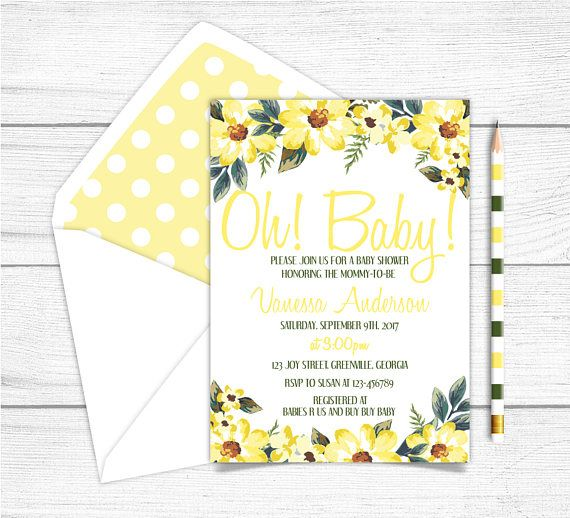 Printable Girl Baby Shower Invitation Yellow Flowers Baby