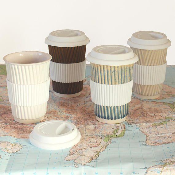 NEW 350ml ceramic travel mug with lid and sleeve. Reusable