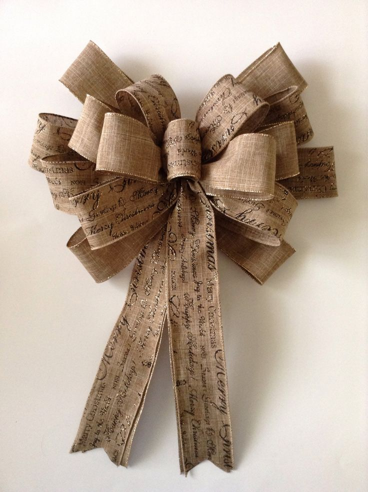 Christmas burlap wreath bow design with two different