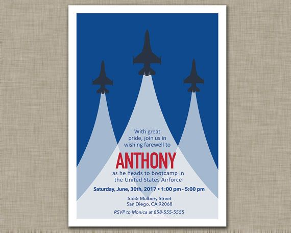 Air Force Invitation / Going Away / Bootcamp / Deployment / Retirement / Military / Navy / Party Invitation