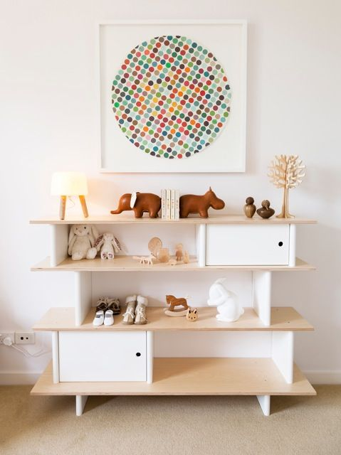 white and light wood nursery, oeuf, dot art, menagerie