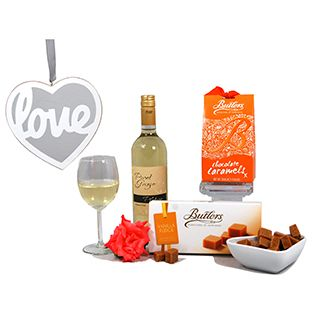 A thoughtful gift with Italian wine and divine fudge and caramels.