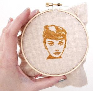 Audrey Hepburn Free Cross Stitch Pattern - The simple design is subtle enough to be a part of your DIY home decor in any room of the house. It would also make a great DIY gift idea for Hepburn fans and fashion enthusiasts.