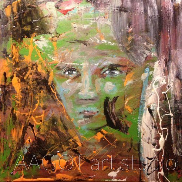 Digitalt billede af maleriet BEAUTY. DO YOU PROVIDE ANY?. Primær farve: Grøn. Sekundær farve: Orange.