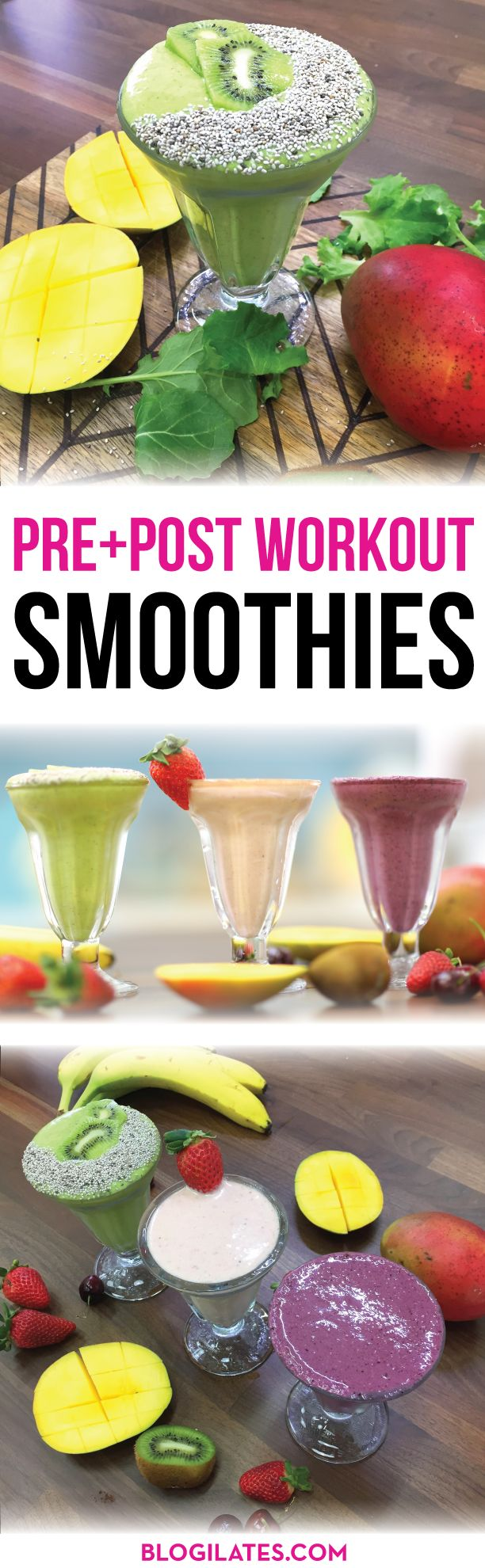 Ever wonder what you should drink before and after your workout? These are the best pre-workout, post-workout, and metabolism boosting smoothies! Learn to make the PB & J Shake, Berry Muffin Smoothie, and the Metabolic Blast Smoothie. www.blogilates.com