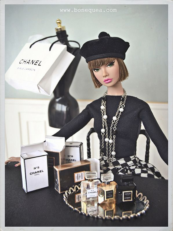 Miniature Chanel perfume bottles for dolls