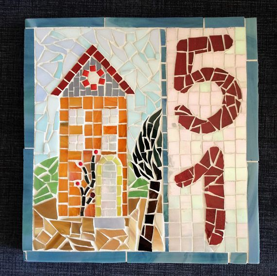 House numbers, mosaic home sign  18 x 19 cm 90e  #mosaic #mosaicnumbers #housenumbers #mosaicart #housesign #weddinggift #etsy #psifida #madeinGreece