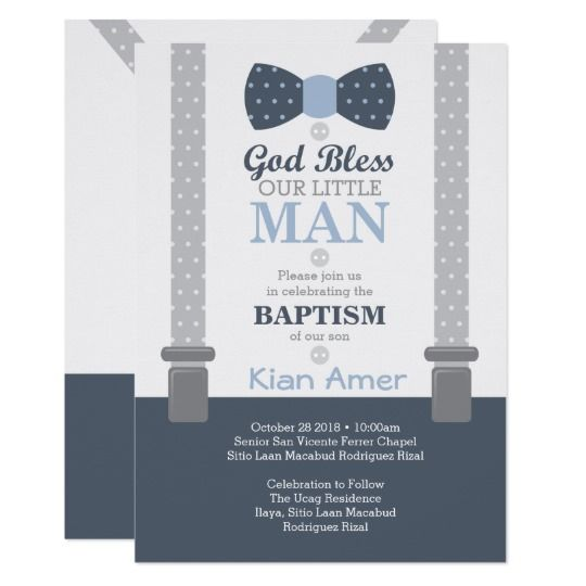 little man baptism photo invitation blue gray invitation kian