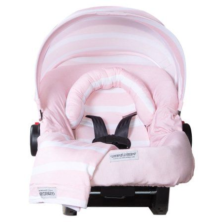 Carseat Canopy 5 pc Whole Caboodle Baby Car seat Cover set Jersey Stretch - Pink Stripes