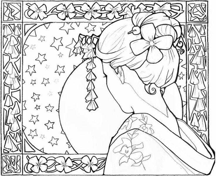 Adult coloring page Japan : Japan: geisha girl 14