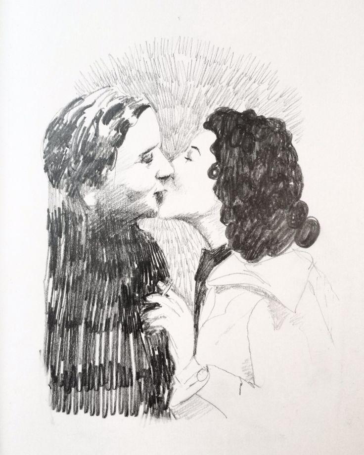 Kiss Kiss Pencildrawing  Ingjerd Tufto Instagram @intu