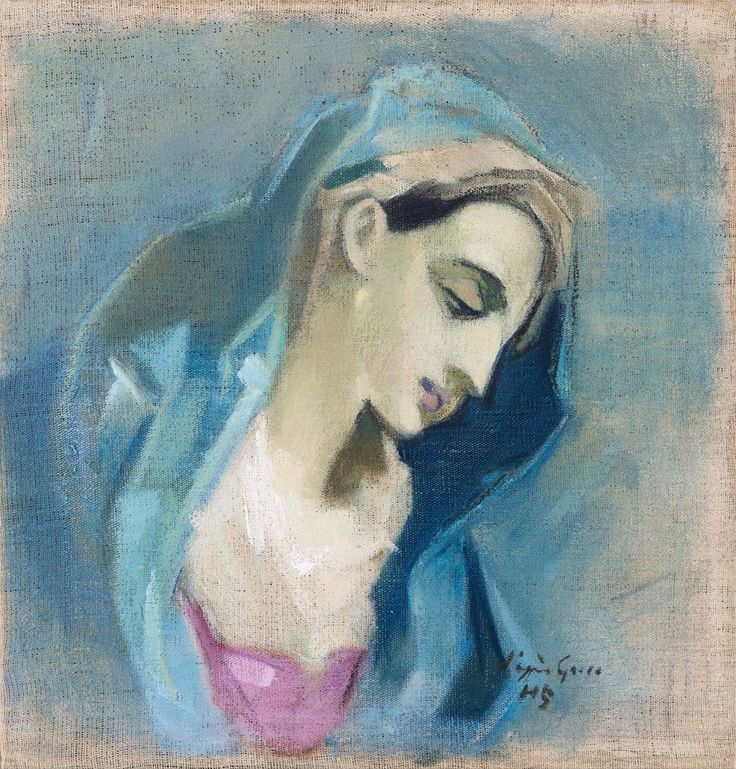 "Helene Schjerfbeck (1862-1946) BLUE MADONNA Signed ""d'après Greco"" HS. Executed in 1943."
