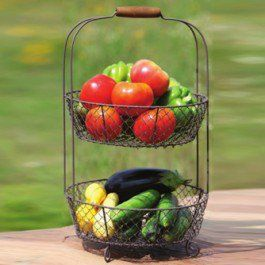 """-Crafted from metal with a wooden handle-Grayish overall finish-Dimensions: 12"""" Diameter x 21"""" High-Packed: One Per Package (you will receive one 2 tier basket)-A maximum quantity of 10 is allowed per customer-Shipping Date: Leaves our warehouse within fifteen business days"""