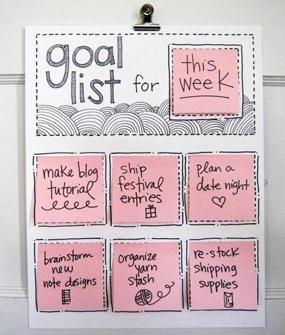 : Goals Boards, Organizations, Goallist, Sticky Note, Goals Lists, Great Ideas, Goals Charts, Rotator Goals, Diy Rotator