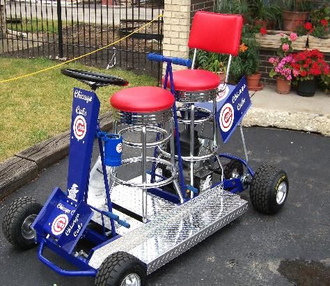 One Chicago Cub S Or Pick Your Team Great For Tailgate Partys Hangover Racing Bb Bar Stool Go Kart Pinterest Cart And Mini Bike