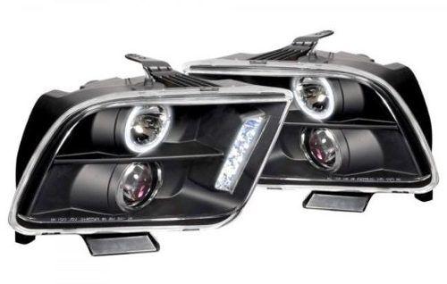 2005 - 2009 faros de lupa + led negros para ford mustang