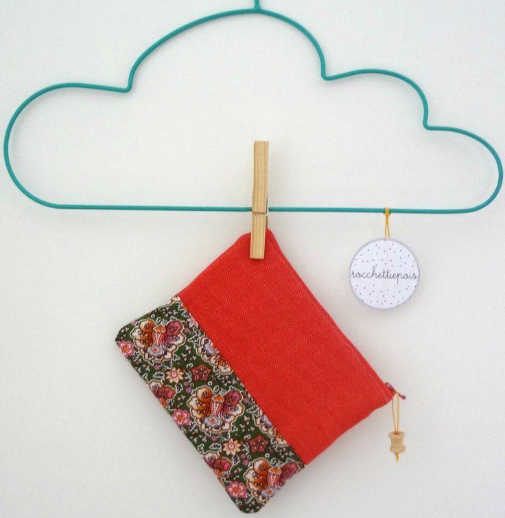pochette imbottita 17x16 con cerniera - aragosta con base fantasia a fiori di rocchettiepois su Etsy