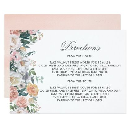 Dusk Watercolor Flower | Directions Card - wedding invitations diy cyo special idea personalize card