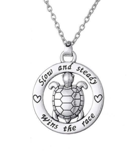 17.99$ - Slow & Steady Wins The Race - Turtle Necklace - Miss Fit Boutique