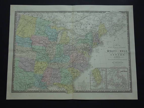 USA old map 1875 LARGE original antique hand colored French