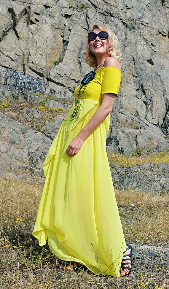 Extravagant Summer Dress TDK264 Long Summer Dress Yellow